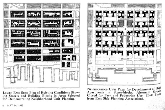 "Neighborhood Unit Plan - ""East Side Planning Association Receives Reconstruction Plans,"" Real Estate Record (May 1932)."