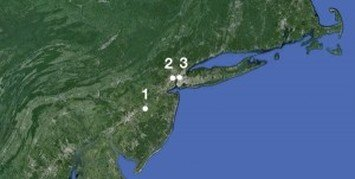 """The three locations for the 1625 settlement mentioned in the West India Company's instructions to Provisional Colony Director Verhulst, in rank order of the Company's stated preference: 1) High Island; 2) """"where the runners pass from the North to the South river""""; 3) the """"hook"""" of Manhattan."""