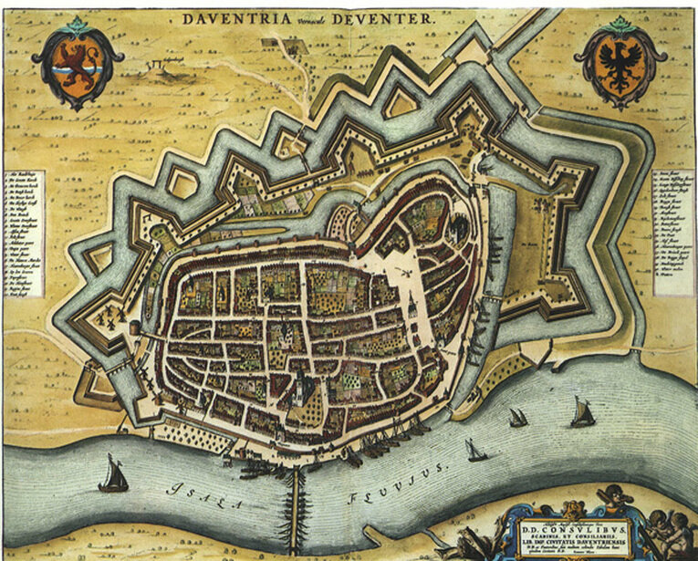 The fortified Dutch town of Deventer in the seventeenth century, one of the many cities and towns in the Dutch Republic that were enclosed within bastioned earthworks to defend against Spanish and other artillery after the Dutch declared their independence from Spain in 1581. (Image: Rijksuniversiteit Groningen)