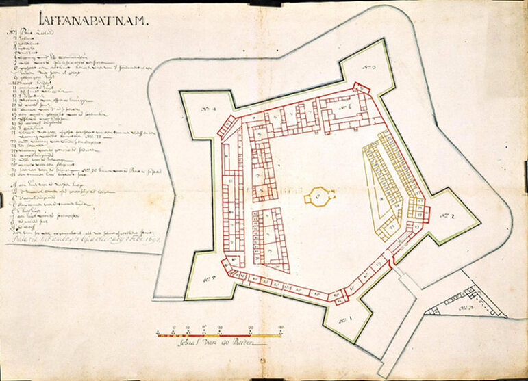 The East India Company's plan for its fortified outpost at Jaffanapatnam (Jaffna, in Sri Lanka), 1693. (Image: Dutch Atlas of Mutual Heritage)