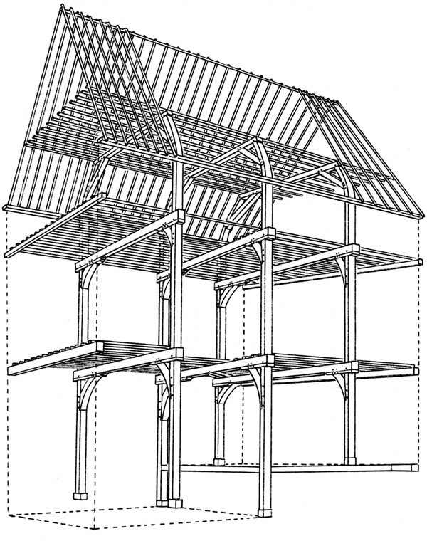 """An example of Nederlandic timber framing: though the loss of the drawings for the Company's """"model D"""" and """"model E"""" houses leaves us without answers to many questions about how they were designed and built, it is likely that they would have been framed much like this, or a some slight variation of it. (Image: adapted from Steven's Dutch Vernacular Architecture.)"""