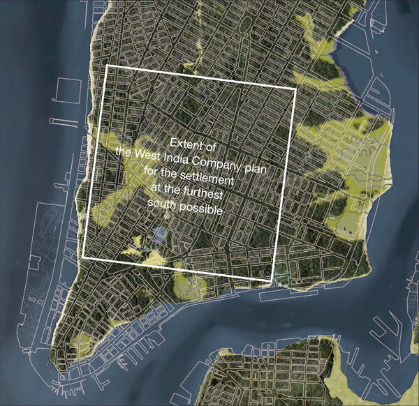 The shoreline of Manhattan in 1625 meant that had the West India Company's plan been followed exactly, its southern border could not have been much below a line running approximately between the intersection of today's West Broadway & Park Place and the intersection of Clinton Street and South Street, if it were to all be on dry land. (Image: OASIS Project view current street plan superimposed on Eric Sanderson's reconstruction of Manhattan circa 1600.