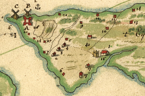 """Detail from the 1639 """"Manatus"""" map of New Amsterdam. All that remains of the West India Company's original plan for the settlement is the four-sided fort drawn in red at letter A, next to the two windmills marked C and B. (Image: Library of Congress)"""