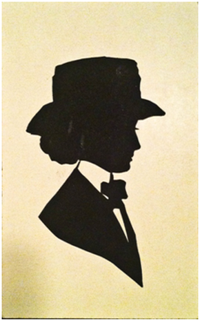 This unused postcard was typical of E.J. Perry's work at various places along the country's leisure circuit. What may appear to be an ink drawing is actually a scissor-cut free-hand tracing of the subject's profile from gummed black paper matted to a heavier white card stock. The reverse reads: POSTCARD Silhouette by E.J. Perry, Dreamland, Coney Island, 1909. Collection of the writer.