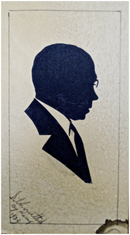 """In 1934, E.J. Perry cut a portrait of composer J. Rosamond Johnson, a musical lion of Broadway, vaudeville and the Harlem Renaissance. The artist signed the card in the lower left-hand corner, """"Silhouetted by Perry 1934."""" Collection of Johnson's granddaughter, Mélanie Edwards."""