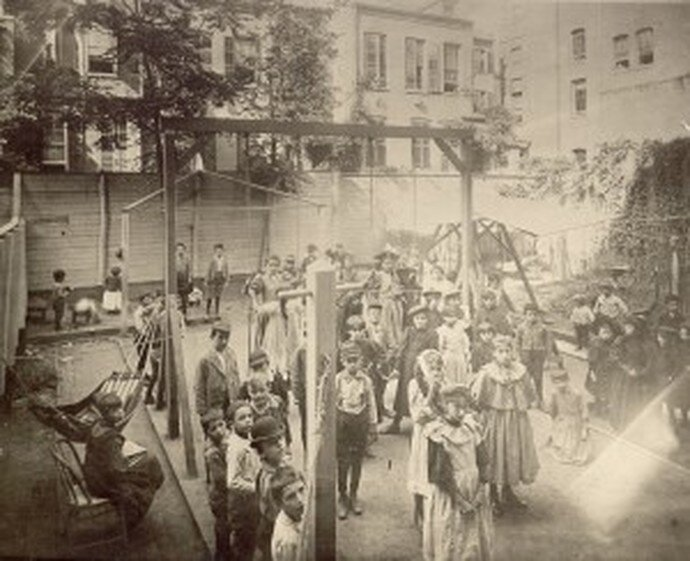 The playground in the backyard of Henry Street Settlement is shown. Settlements provided a range of activities and classes for children and encouraged safe, supervised play. Courtesy of the Library of Congress.