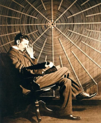 """""""Tesla in His Laboratory—Portrait Obtained by an Exposure of Two Seconds to the Light of a Single Vacuum Tube . . .—Photographed by Tonnele & Co."""" From """"Tesla's Important Advances,"""" Electrical Review, 20 May 1896, 263."""