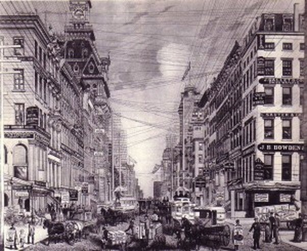 Broadway looking north from Cortland Street (left) and Maiden Lane (right), circa 1880, just before Tesla landed in New York. From John A. Kowenhoven, The Columbia Historical Portrait of New York: An Essay in Graphic History (New York: Harper & Row, 1972).