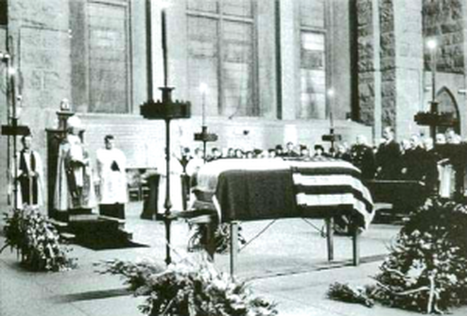Tesla's Funeral at the Cathedral of St. John the Divine, 1943. http://picturesofinfinity.files.wordpress.com/2011/12/nikola-tesla-funeral.png