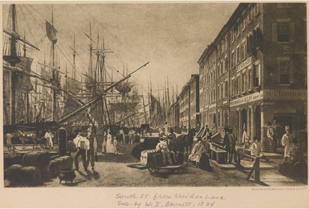 South Street from Maiden Lane, 1834 (Courtesy NYPL)