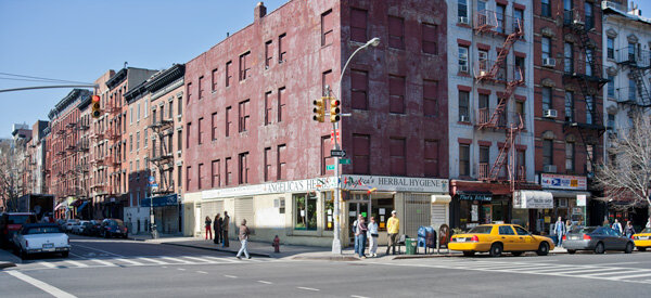 """19th century """"ordinary"""" brick and wood construction standing cheek by jowl at the northwest corner of First Avenue and 9th Street in the East Village. Behind the brick facades the interior structures are built of wood. (Photo: Author)"""