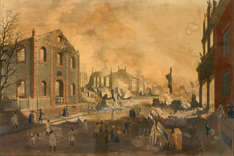 Contemporary lithograph showing the ruins of the 1835 Great Fire in New York as seen from Exchange Place. The fire destroyed some 700 buildings downtown (image: New York Public Library)