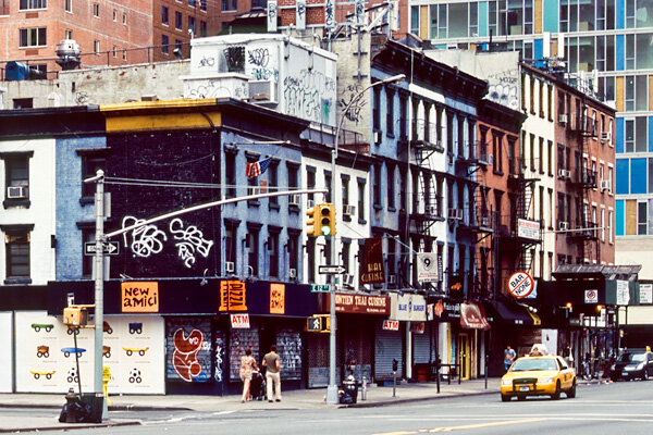 """A block-long row of 19th century """"ordinary"""" brick and wood buildings on the west side of Second Avenue between 12th and 13th Streets is dwarfed by new high-rises (Photo: Author)"""