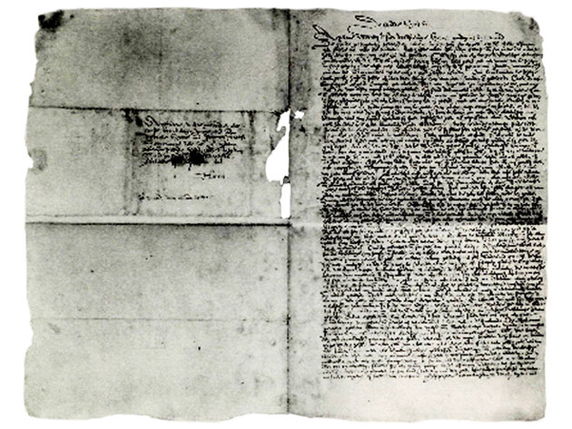 """Figure 2: First page (right) and last page (left) of Johan Michaëlis' letter of August 8, 1628, in which he characterizes the first Dutch houses on Manhattan as """"huts and hovels."""" (Facsimile image: Stokes Iconography, vol. IV)"""