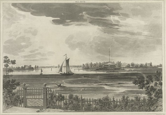 An idyllic scene of Hell Gate, about 1820. From an engraving by John Hill of a painting by Joshua Shaw. The view is from Ward's Island looking south across Hell Gate. The blockhouse is apparently the one at Mill Rock. Note the tidal movement of the water, depicted in striations in the foreground. (Image courtesy of NYPL.)