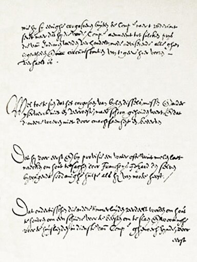 A page of the West India Company's January, 1625, formal instructions to its newly appointed provisional director of the New Netherland colony, Willem Verhulst.