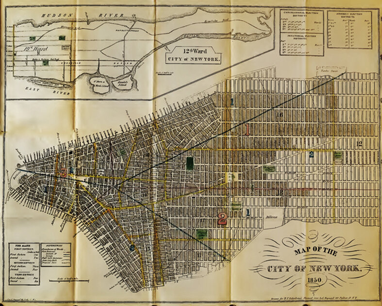 New York in 1850. Shading shows the built-up area of the city.