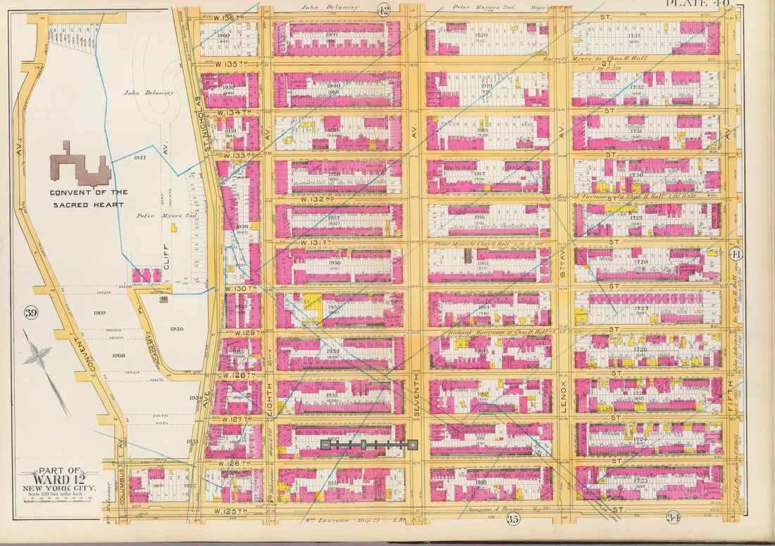 Fifth Avenue to Convent Avenue, 125th Street to 136th Street, 1891. Vacant lots (white) and brick buildings (pink), with old farm boundaries. The area is almost solidly built-up. Bromley's Atlas, 1891