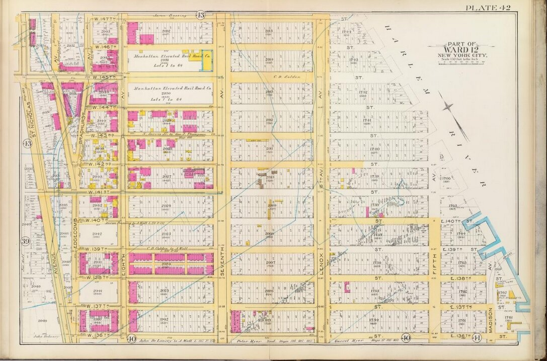 Madison Avenue to St. Nicholas Avenue, 136th Street to 147th Streets, 1891. Vacant lots (white) and brick buildings (pink), with old farm boundaries. Most of the area is yet to be developed. Bromley's Atlas, 1891