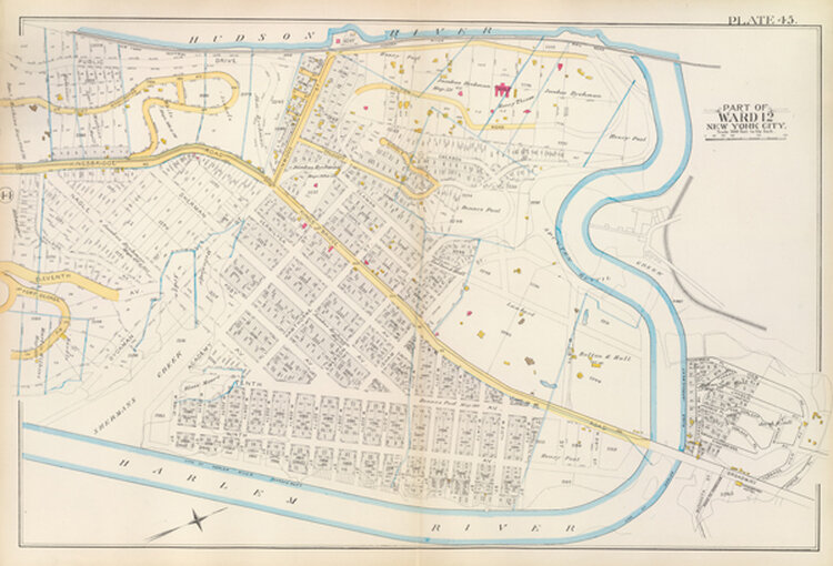 Vacant lots in Inwood, 1891. Inwood has been laid out, but development has yet to begin. Vacant lots (white) and brick buildings (pink), with old farm boundaries. Bromley's Atlas, 1891