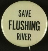 """""""Save Flushing River"""" button, part of the Ephemera Collection at The Archives at Queens Library"""