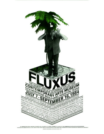 Poster for Fluxus show at Contemporary Arts Museum in Houston, Texas, 1984. George Maciunas with newly planted tree at 80 Wooster Street. Photo of George Maciunas and poster design by Larry Miller ©