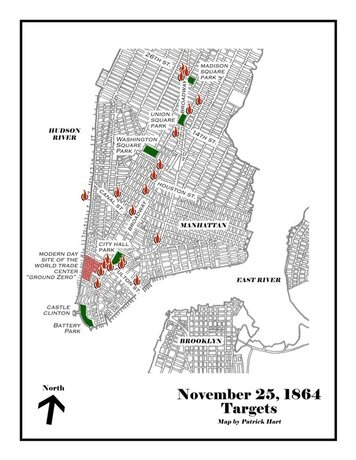 A map showing the targeted fires with some modern day landmarks.