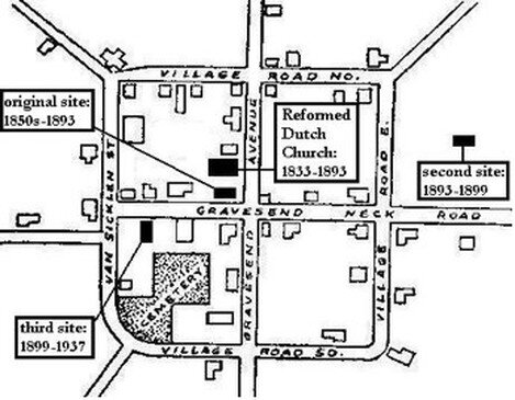 Locations of the lecture room of the Reformed Dutch Church of Gravesend.