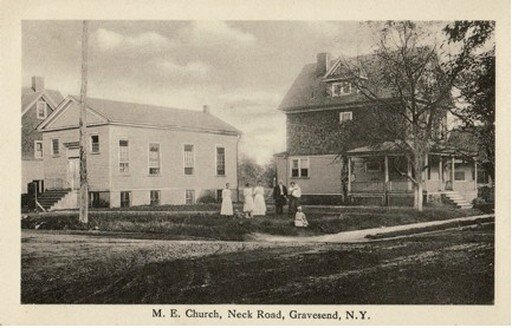 Gravesend Methodist Episcopal Church (formerly lecture room of the Reformed Dutch Church of Gravesend). No. 14 Gravesend Neck Road, southeast corner of Van Sicklen Street, Brooklyn, New York. Postcard, published by F. Johnson, ca. 1910.