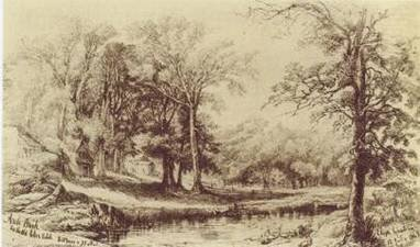 Elizz Greatorex drew this sketch of Arch Brook (originally the Saw Kill) on the eastern side of Manhattan in 1869, approximately where E. 75th St. meets FDR Drive today. (source: Mannahatta, 2009).