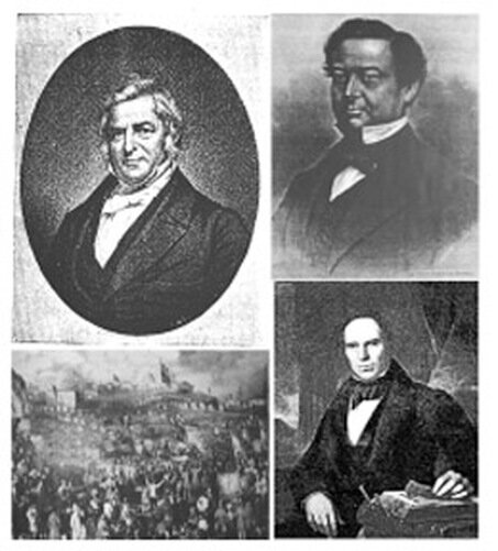 Manufacturers and Merchants, Revolutionaries and Revivalist Architects (Top left to right: William Colgate, A.A. Low (son of Seth Low Sr.), Rally at Birmingham, UK sandpit lead by Joshua Scholefield; Ithiel Town, revivalist architect and founder of country's first architectural firm, Town & Davis.