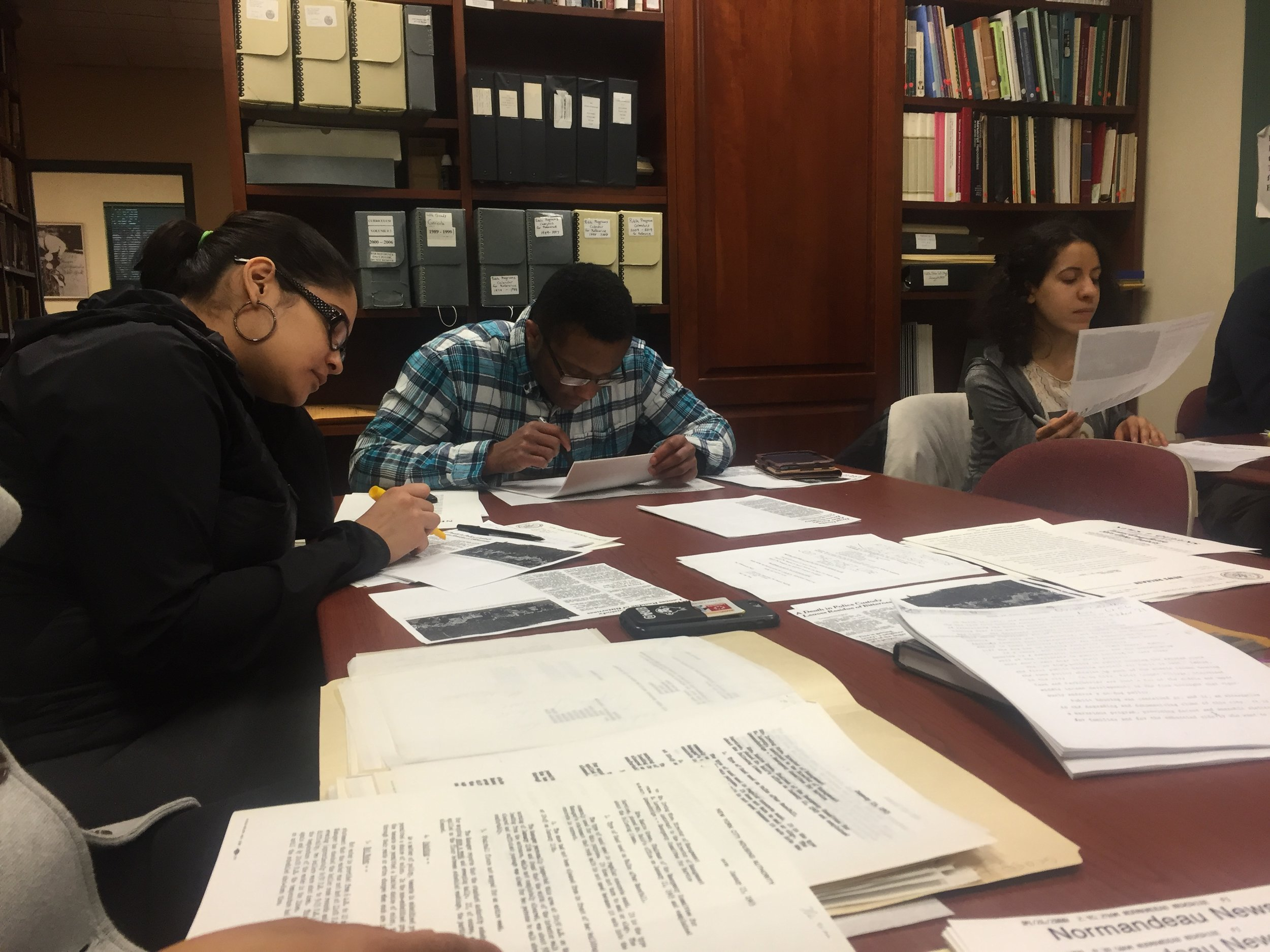 Students researching NYCHA papers at the LaGuardia and Wagner Archives. Photo by Molly Rosner.