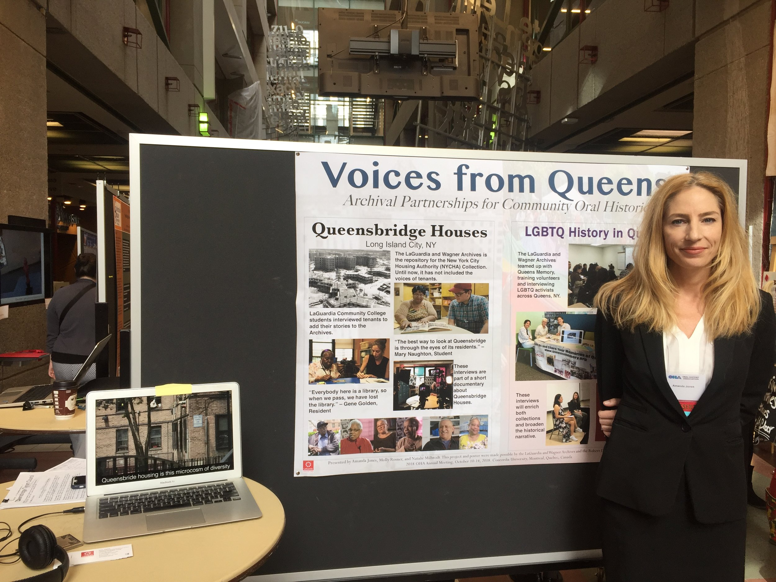 Student, Amanda Jones, presents her work at the Oral History Association in Montreal, Canada. Photo by Molly Rosner.