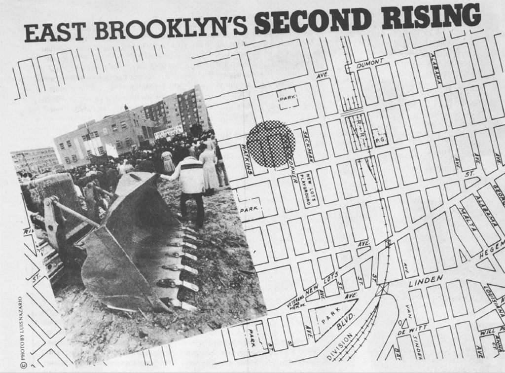 """Lead art from the December 1982 City Limits cover story on the Nehemiah program's groundbreaking in Brownsville, """"East Brooklyn's Second Rising"""" 