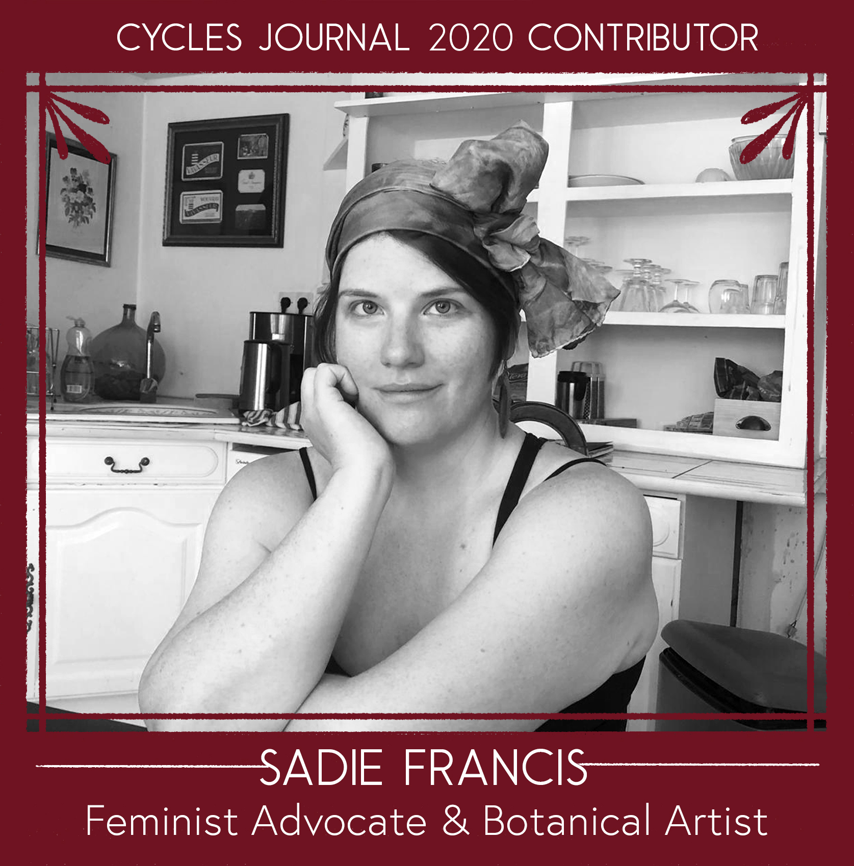 Sadie Francis - Feminist Advocate & Botanical ArtistSadie Francis is an environmental artist, biophilic consultant, and naturalist. Her work mostly focuses on the exploration of ecofeminist themes and natural cycles. Her inspiration is sourced from her deep respect and gratitude for the seemingly unlimited healing and bio remedial powers of the natural realm. She largely works in epoxy resin, foraged botanicals, cyanotype, and various found objects. She's been leading workshops on menstrual health and menstrual product safety for 15 years. She ideated, and co-curated the first Menstrual Art show in Philadelphia with partners in crime Rachael Amber and Chelsey Everest.Social: for natural philosophising and cat pics:@awakeninglands art page: @onlyintheforestWebsite: www.onlyintheforest.comEmail: sadiefrancis6221 (@) gmail.com