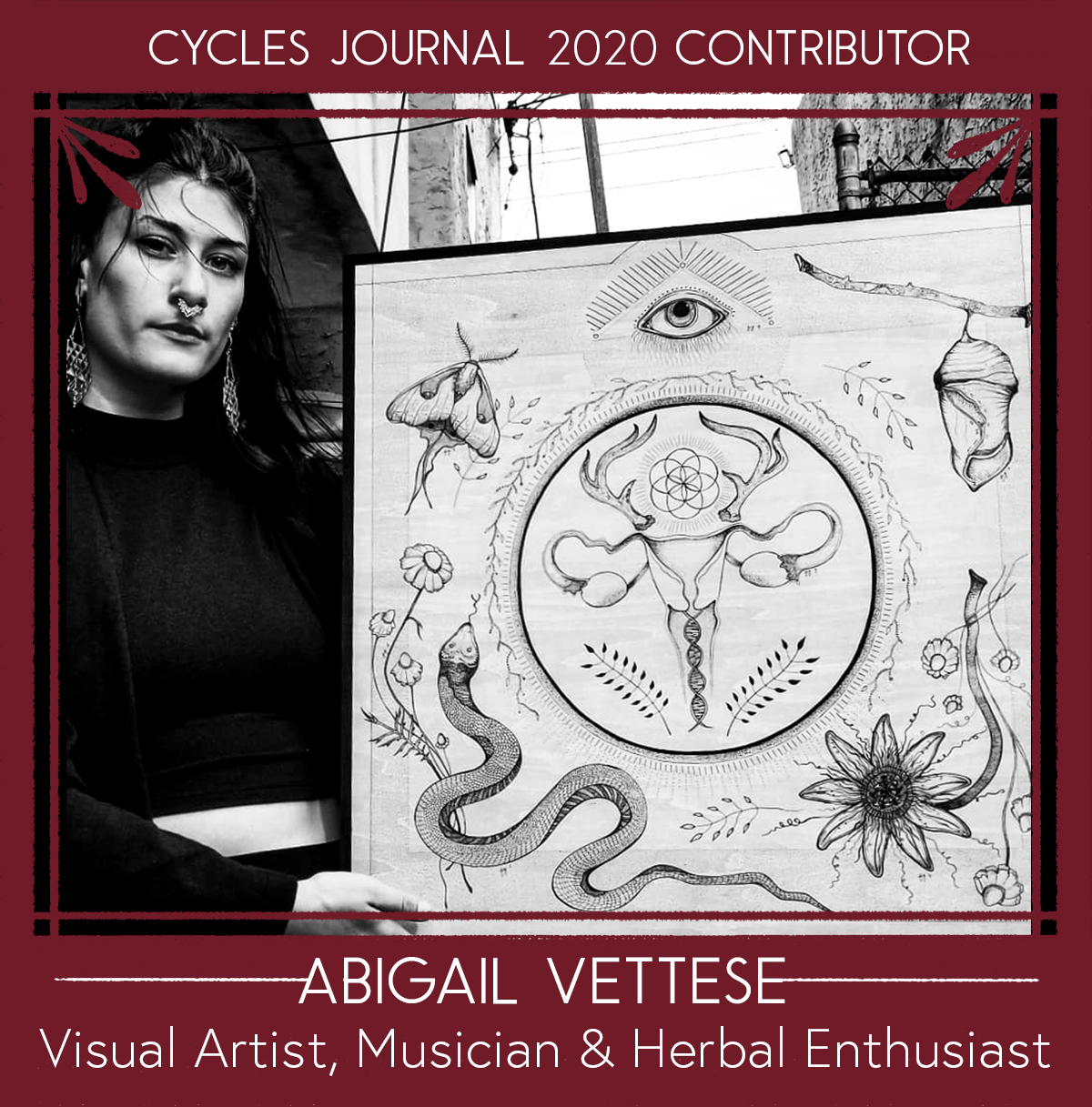 """Abigail Vettese - Visual Artist, Musician & Herbal EnthusiastAbigail Vettese is a Philadelphia based artist, herbal enthusiast, and environmentalist. Her vision is to release trauma through art, natural wellness, and intentional living.""""I believe in art as a form of alchemy, allowing us to transmute our experiences into something meaningful. Through the birth of creative ideas, we develop a superconscious lens through which we can explore life and connect with our own divinity, and more importantly, I believe we can heal through the manifestation of these concepts."""