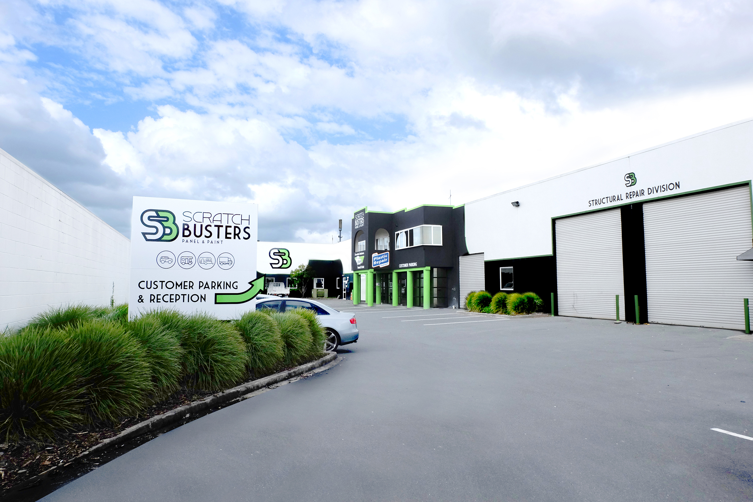 Easy on-site parking and turnaround space at Scratch Busters Panel and Paint