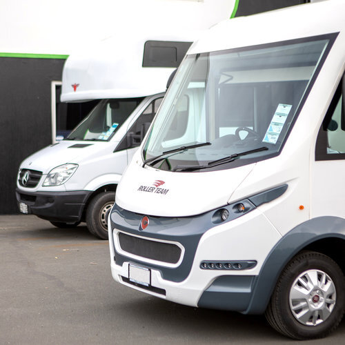 Motorhomes, caravans and large vehicles on Scratch Busters forecourt