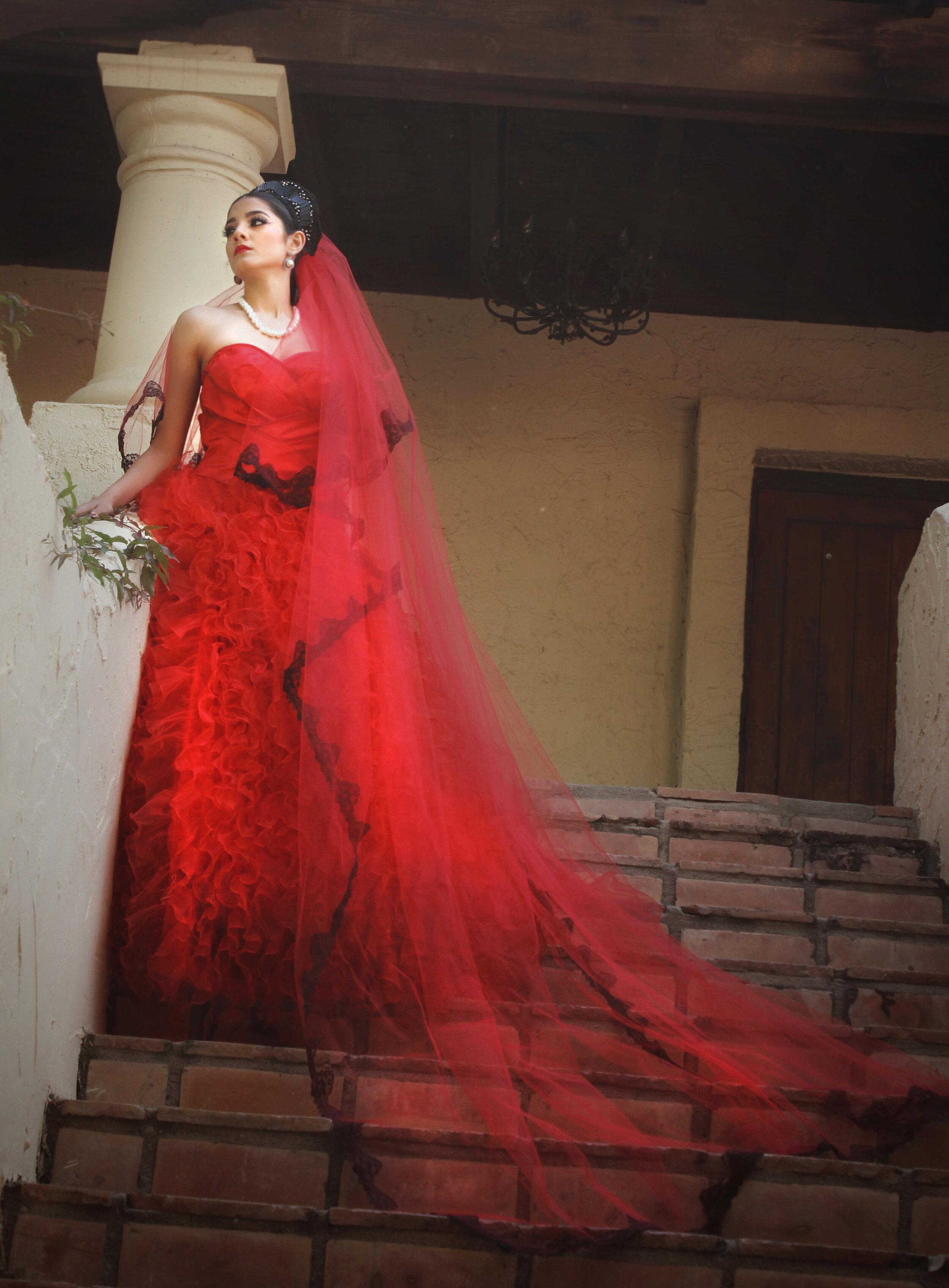 Mexican singer Dray Desi modeld for Alis Fashion Design custom red bridal gown.jpg