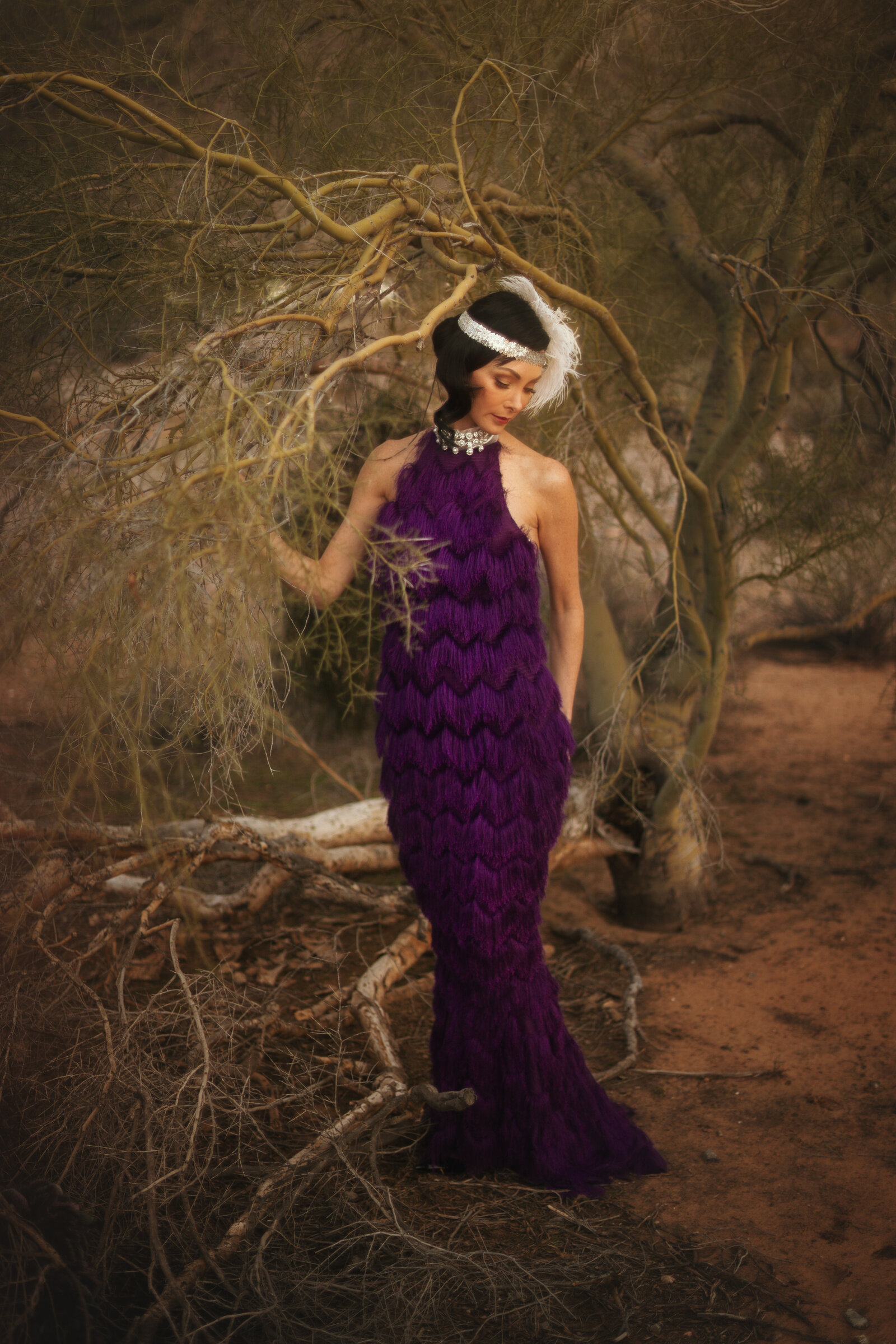 One of a kind high neck purple mermaid style evening dress made of fringe by Alis Fashion Design.jpg