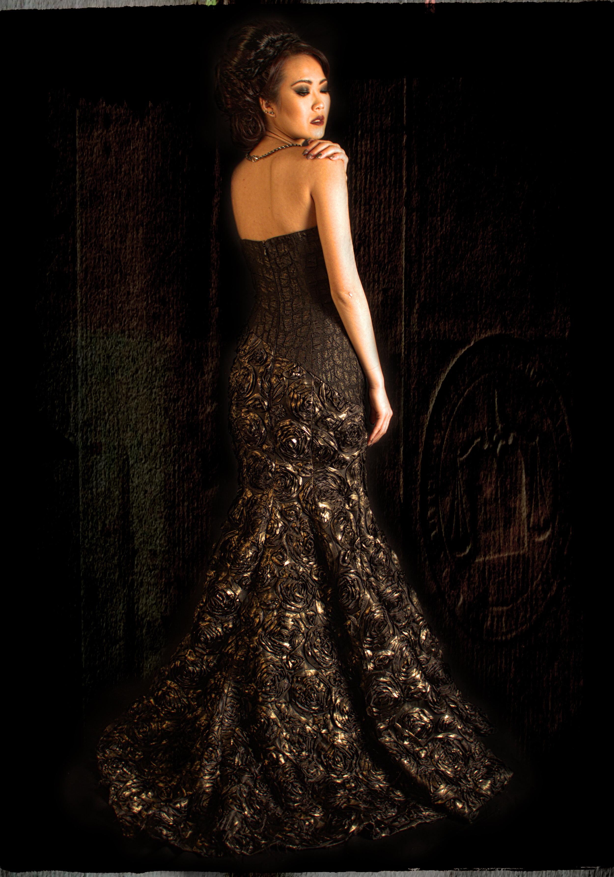 Bespoke couture sleeveless trumpet evening dress made of 3d rosetta fabric designed by Alis Fashion Design.jpg