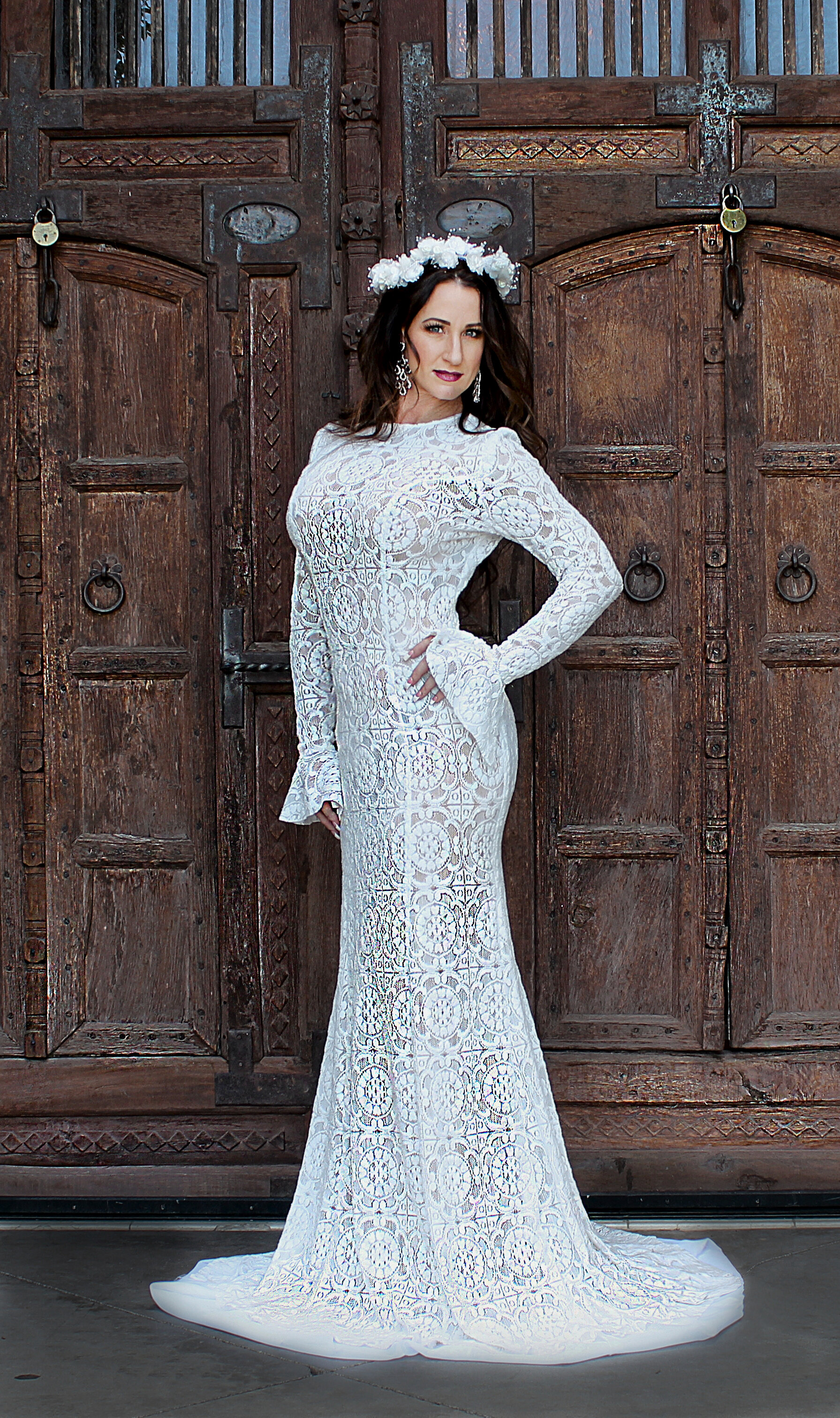 Long Sleeved bohemian inspired modest bridal gown custom designed by Alis Fashion Design with flared cuffs and gorgeous sweep train.jpg