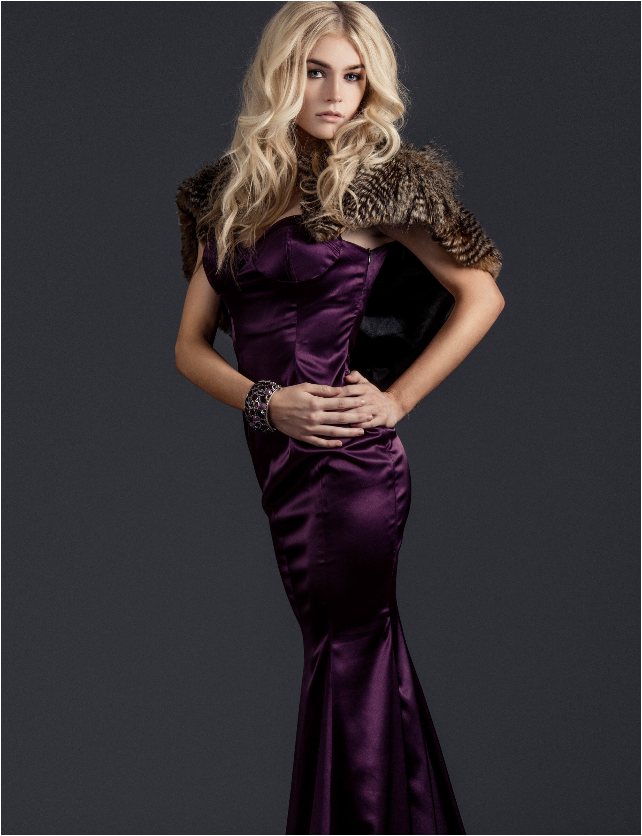 Alis Fashion Design one of a kind purple couture bustier evening gown featured in Zephyr Magazine January Issue 2015.jpg