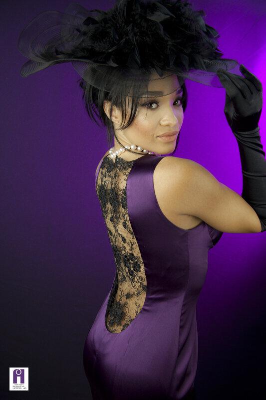 Georgio Armani Italian Silk Satin purple evening gown with black french lace illusion back black veil fascinator and gloves.jpg
