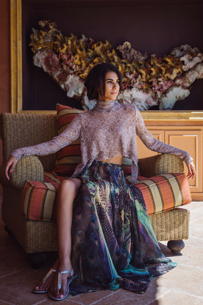 Bespoke high neck long sleeve blush pink lace top pleated chiffon peacock print maxi skirt with slit designed by Alis Fashion Design photographed by Brad Olson.jpg