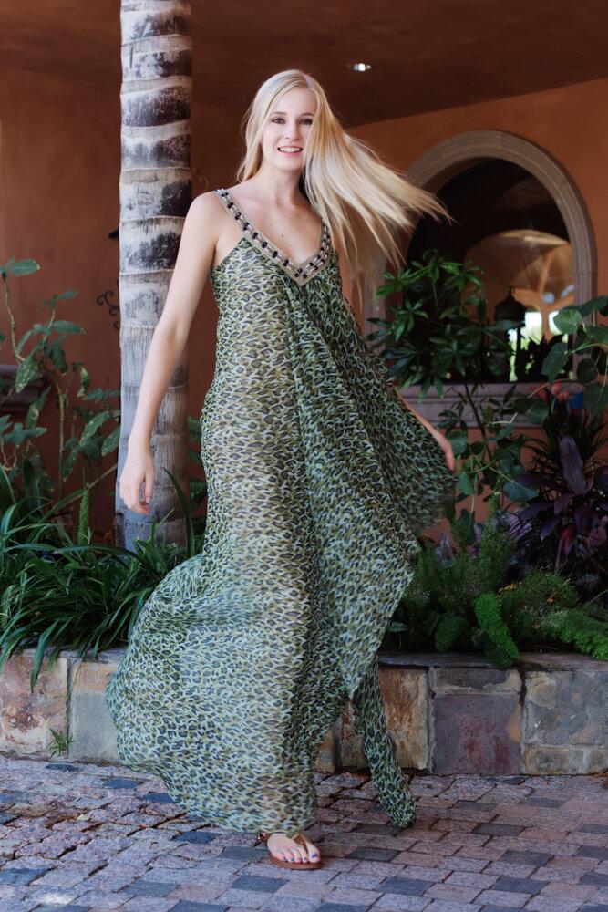 Model Kenzie Murph from Ford Robert Black bespoke animal print chiffon maxi  dress with v neckline designed by Alis Fashion Design photographed by Brad Olson.jpg.jpg
