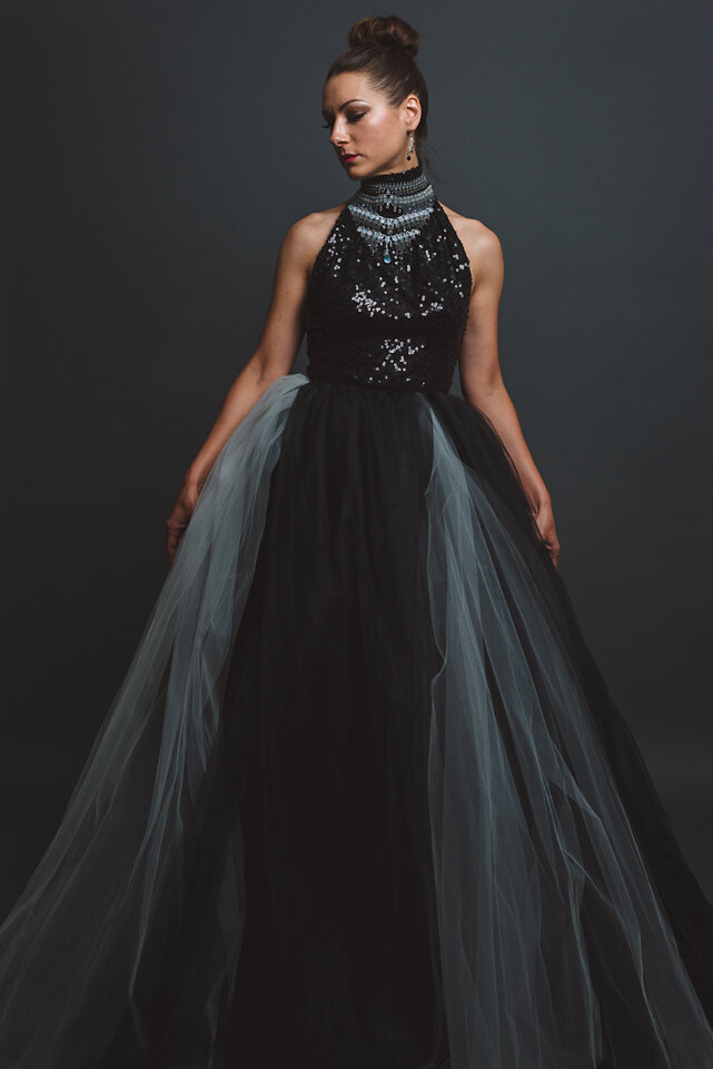 Bespoke ball gown made of black and white tulle skirt and sequin sleeveless top designed by Lana Gerimovich photographed by Brad Olson.jpg