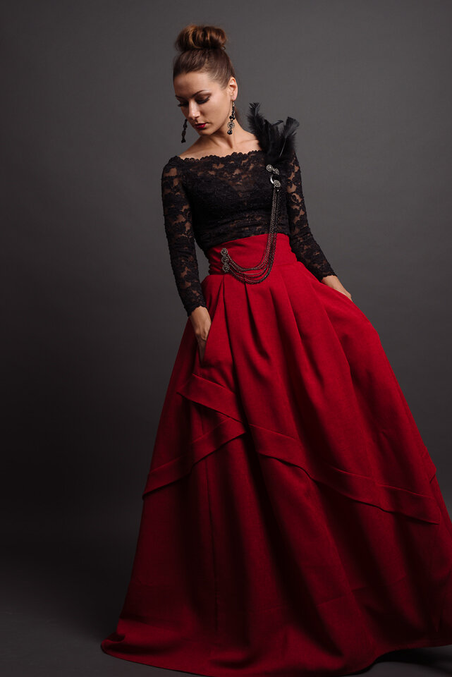 Custom designed off shoulder black lace top with red full-length skirt with pockets by Lana Gerimovich photographed by Brad Olson.jpg