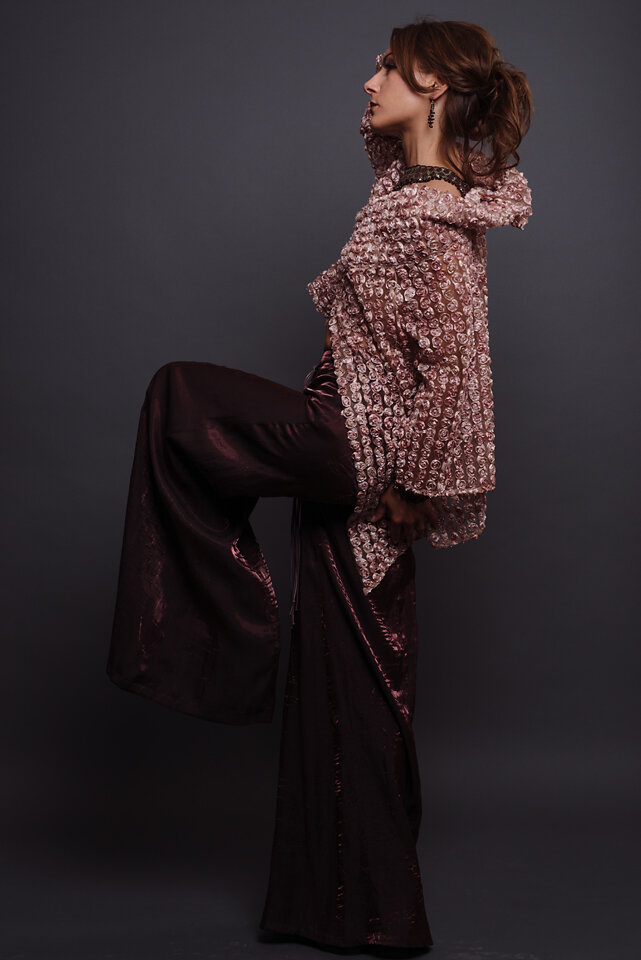 Custom made rosette longsleeve jacket and parazzo pants by Lana Gerimovich photographed by Brad Olson.jpg