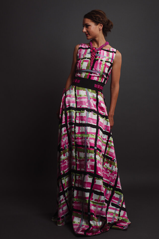 Custom designed vintage inspired plaid maxi dress with belt by Alis Fashion Design photographed by Brad Olson.jpg